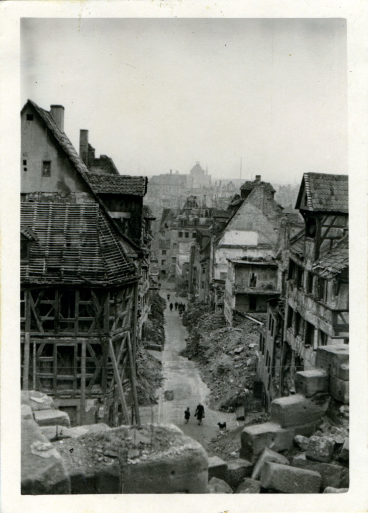 Destruction on a city block in Nuremburg