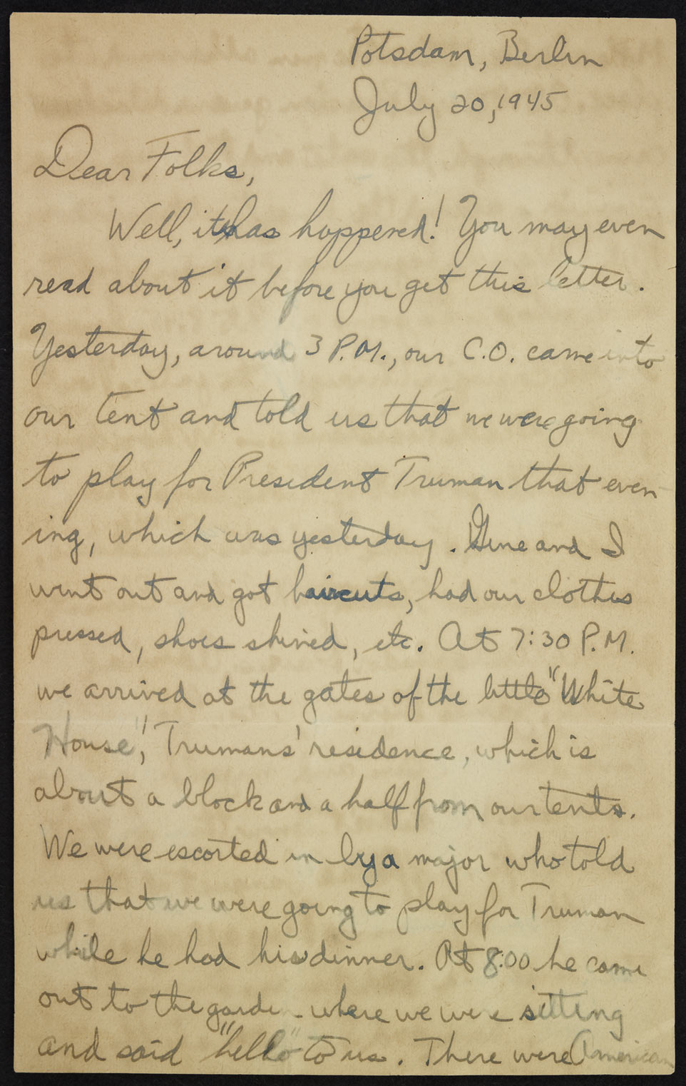 Letter from Potsdam, July 20, 1945