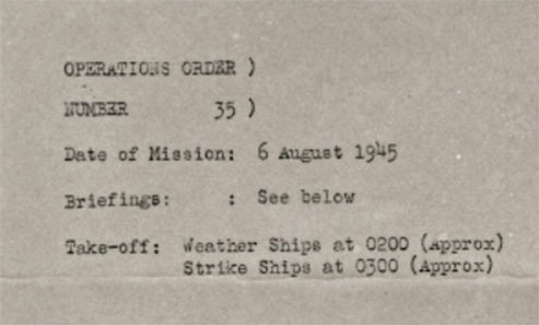 Strike order of Hiroshima Mission
