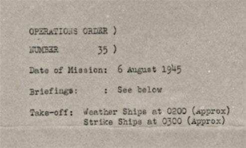 Strike order of Hiroshima Mission