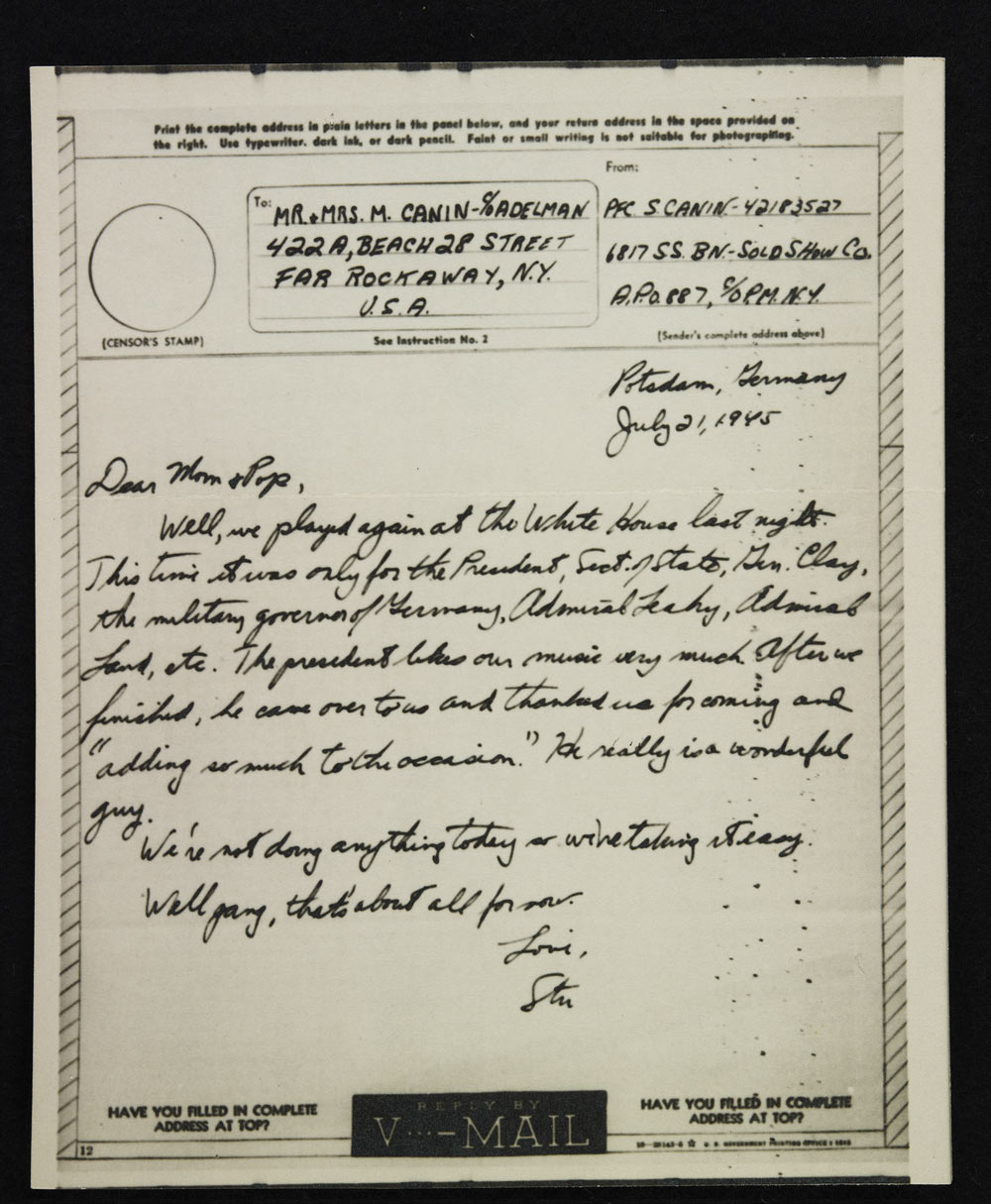 Letter from Stuart to his parents, July 1945